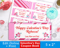 Kids Valentine's Day Coupon Book Template *EDIT ONLINE*