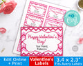 Valentine's Day Labels Printable *EDIT ONLINE*