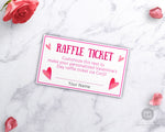 Valentine's Day Raffle Ticket Template- Hearts