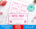 Valentine's Day Raffle Ticket Template- Hearts *EDIT ONLINE*