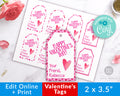 Valentine's Day Tags Printable- Hearts *EDIT ONLINE*