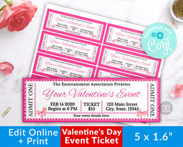 Valentine's Day Event Ticket Editable Template- Bows *EDIT ONLINE*