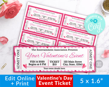 Valentine's Day Event Ticket Template Printable- Hearts *EDIT ONLINE*