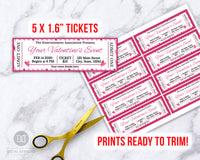 Valentine's Day Event Ticket Template Printable- Hearts