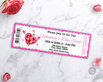 Valentine's Day Event Ticket Printable- Love Potion *EDIT ONLINE*