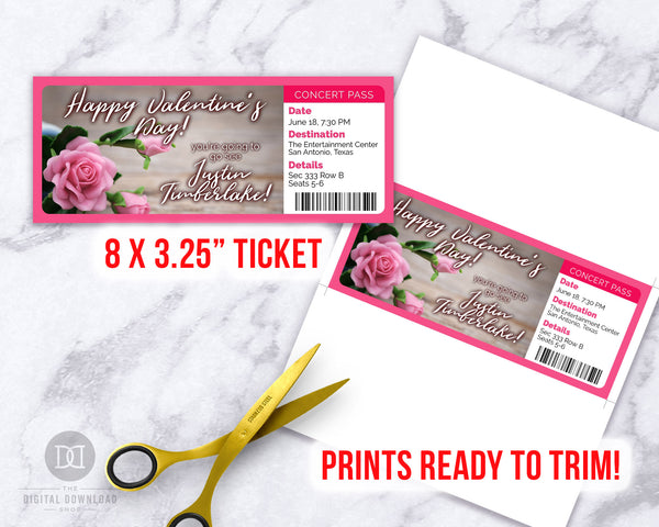 Valentine's Day Event Ticket Template- Flowers