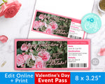 Valentine's Day Event Ticket Template- Roses