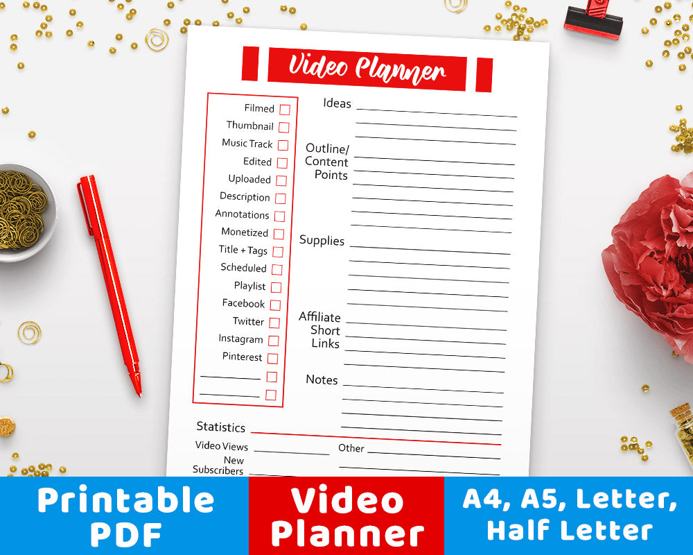 photo about Printable Video titled Online video Planner Printable