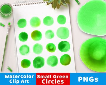 Watercolor Circle Clipart- Small Green