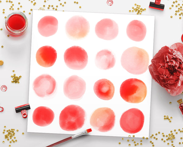 Watercolor Circle Clipart- Small Red