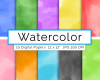 Watercolor Digital Paper- Assorted