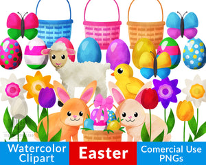 Watercolor Easter Clipart- This Easter graphics set includes beautiful Easter bunnies, Easter eggs, Easter baskets, flowers, and more that would be perfect for making DIY Easter basket tags, homemade Easter cards, and more! | commercial use clipart, #Easter #clipart #DigitalDownloadShop