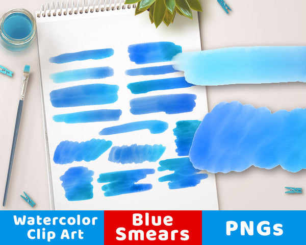 Blue Watercolor Clipart- Smears