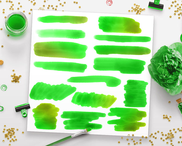 Green Watercolor Clipart- Smears