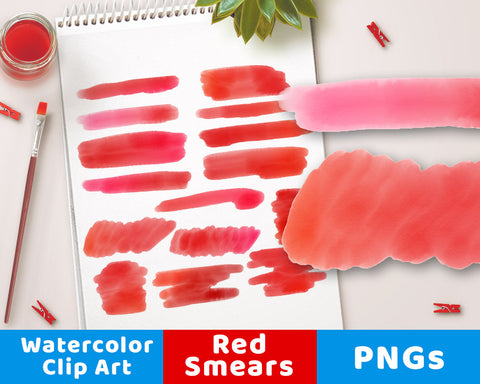Red Watercolor Clipart- Smears