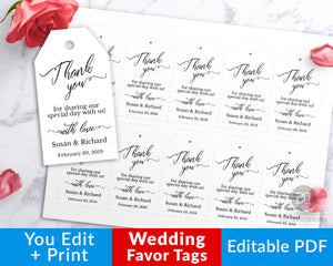 These editable thank you tags would make lovely finishing touches to your wedding favors, and since they're just black and white they're easy on your printer ink!