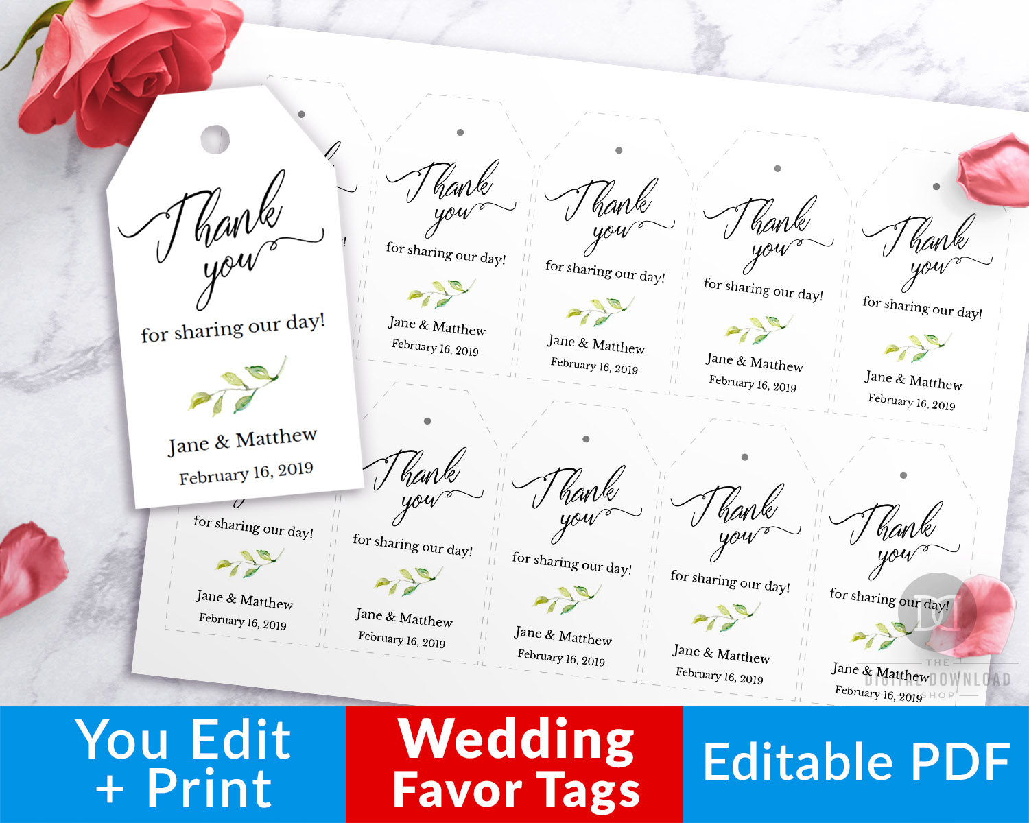 Wedding Favor Tags Printable Editable: Watercolor Greenery- These beautiful editable thank you tags would make lovely finishing touches to your wedding favors! | gift tags, thank you tags, wedding printables, #weddingFavors #favorTags #DigitalDownloadShop
