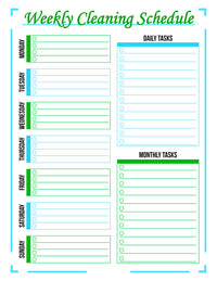 Weekly Cleaning Schedule Printable- Green + Blue