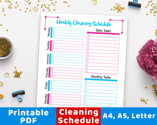 Weekly Cleaning Schedule Printable- Purple + Blue