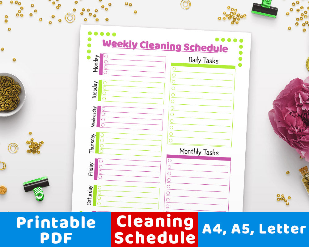 Weekly Cleaning Schedule Printable- Purple + Green