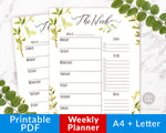 Weekly Planner Printable: Watercolor Greenery- With plenty of space to write reminders and to-dos, this is exactly what you need to organize your week! | weekly organizer, weekly schedule, weekly agenda, A4 Letter printable planner inserts, week on one page WO1P #planner #printable #DigitalDownloadShop