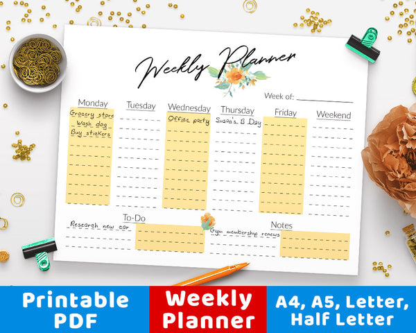 Weekly Planner Printable- Horizontal Floral Watercolor- The Digital Download Shop
