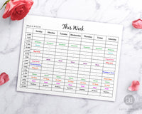 Weekly time blocking editable planner printable. This editable hourly schedule template page is a wonderful way to break down your whole week by hour and improve your productivity!
