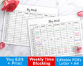 Editable Time Blocking Planner Printable- Weekly