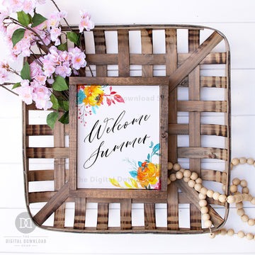 Welcome Summer Wall Art Printable- Bright Florals