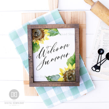 Welcome Summer Wall Art Printable- Sunflowers