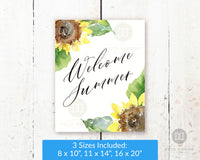 Gorgeous Welcome Summer wall art printable with beautiful watercolor sunflowers.