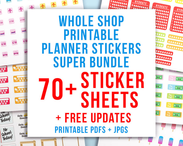 picture relating to Free Printable Functional Planner Stickers titled Complete Store Printable Planner Stickers Deal