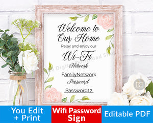 Wifi Password Sign Printable: Floral- This editable home network sign would be such a lovely (and thoughtful!) addition to your guest room. | guest wi-fi sign, #printable #guestRoomDecor #DigitalDownloadShop