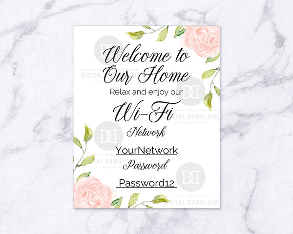 picture about Printable Wifi Sign known as Wifi Pword Indicator Printable- Floral The Electronic Down load Retail store