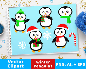 Holiday / Christmas Penguins Clipart