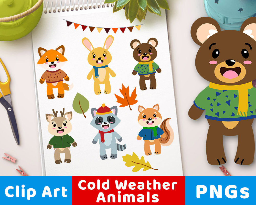 Fall Animal Clipart- The Digital Download Shop