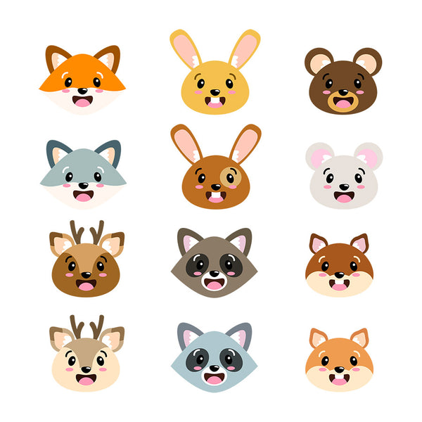Cute Animal Faces Clipart- The Digital Download Shop