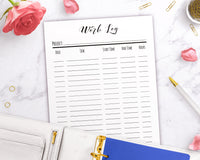 Work Log Printable