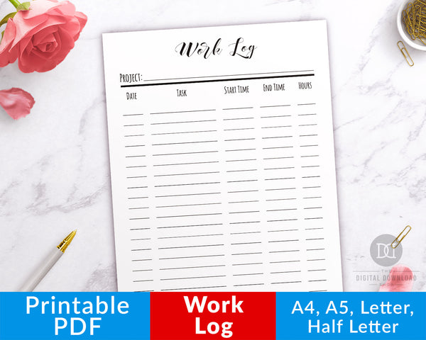 Work Log Printable | Work Time Log Planner