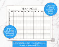 Yearly Planner Printable- Horizontal