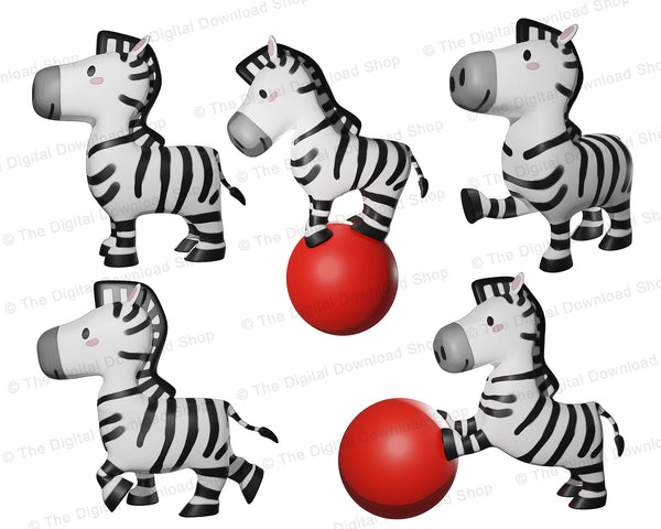 10 watercolor style zebra clipart graphics for personal and commercial use. This zebra graphics set includes zebras standing, rearing, pointing, playing with a ball, and more!