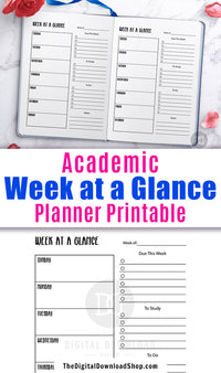 Academic weekly planner printable for bullet journals and other planners. This undated academic planner printable will help you get your weeks organized and keep you from forgetting anything important!
