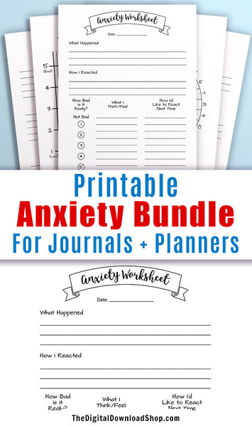 Anxiety Printables Bundle- Use these anxiety trackers and worksheets to help you manage your anxiety. These come in 4 sizes to fit all kinds of bullet journals and planners. | #anxiety #bulletJournal #DigitalDownloadShop