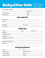 Babysitter Notes Printable - The Digital Download Shop