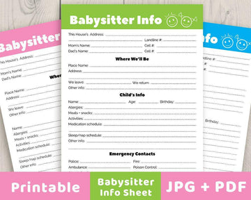 Babysitter Info Sheet Printable