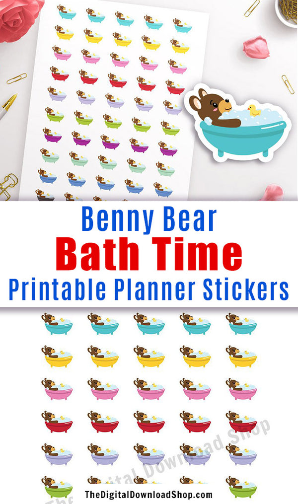 Bath Time Printable Planner Stickers: Benny Bear- Plan for me time and relaxing baths with these cute Benny Bear stickers! | Erin Condren Life Planner, Happy Planner, bullet journal, #printableStickers #plannerStickers #DigitalDownloadShop