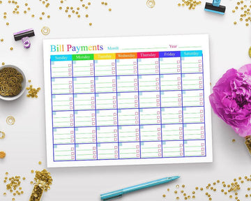 Bill Payments Calendar Printable