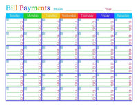 Bill Payments Calendar Printable - The Digital Download Shop