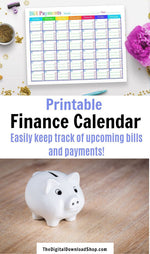 Bill Payments Calendar Printable- Never forget about a bill again with this helpful finance calendar! It's undated, so you can use it for any month or year! | how to stop paying bills late, how to remember to pay bills, #financeCalendar #bills #personalFinance #DigitalDownloadShop