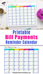 Bill Payments Calendar Printable- Get your personal finances organized in style with this pretty printable blank calendar! It includes plenty of space to write reminders of when different bills are due throughout the month, and spots to check them off once they've been paid. | bills due reminder, pay bills reminder, blank calendar printable, #printable #personalFinance #DigitalDownloadShop